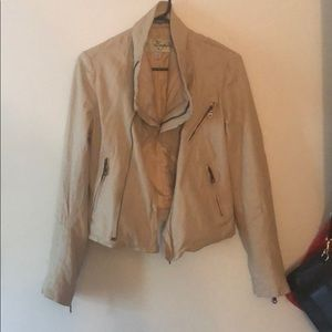 NORDSTROM BAGUDA Leather Jacket Large Collar Zip